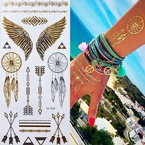 6 Sheets of Temporary Tattoo Gold & Silver Water